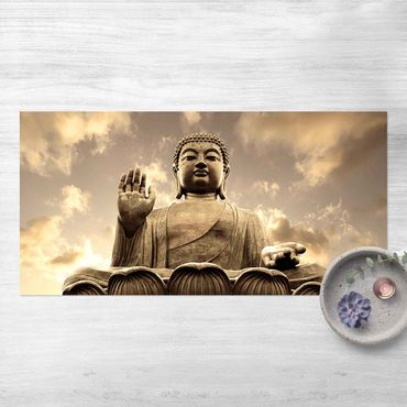 Vinyl-Teppich - Großer Buddha Sepia - Querformat 2:1