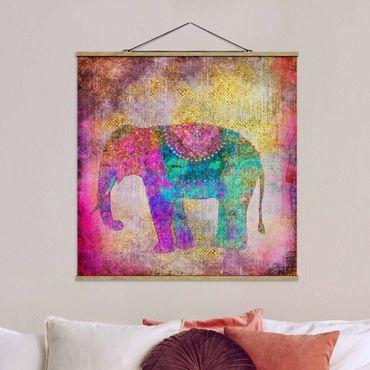 Stoffbild mit Posterleisten - Bunte Collage - Indischer Elefant - Quadrat 1:1