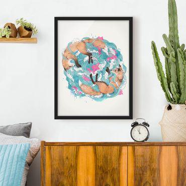 Bild mit Rahmen - Illustration Füchse und Wellen Malerei - Hochformat 4:3