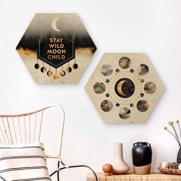Hexagon Bild Holz 2-teilig - Elisabeth Fredriksson - Stay Wild Moon Child Mondpasen
