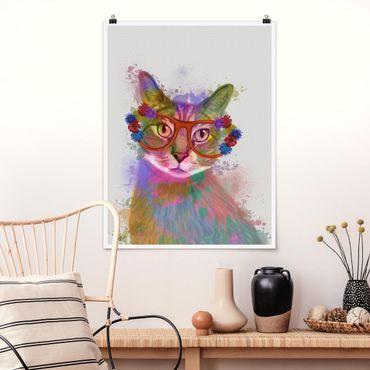 Poster - Regenbogen Splash Katze - Hochformat 3:4
