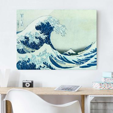 Glasbild - Katsushika Hokusai - Die grosse Welle von Kanagawa - Querformat 3:4