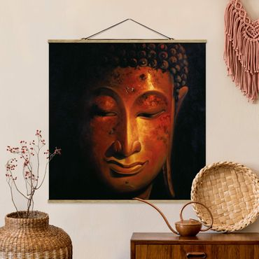 Stoffbild mit Posterleisten - Madras Buddha - Quadrat 1:1