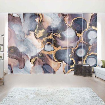 Schiebegardinen Set - Elisabeth Fredriksson - Marmor Aquarell mit Gold - 6 Flächenvorhänge
