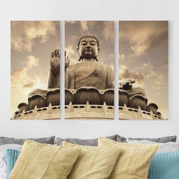Leinwandbild 3-teilig - Großer Buddha sepia - Hoch 1:2