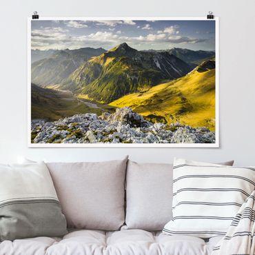 Poster - Berge und Tal der Lechtaler Alpen in Tirol - Querformat 2:3