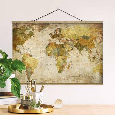 Stoffbild mit Posterleisten - Weltkarte - Querformat 2:3