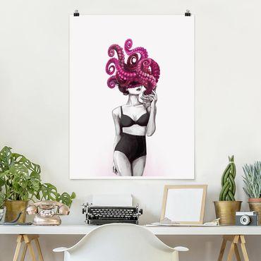 Poster - Illustration Frau in Unterwäsche Schwarz Weiß Oktopus - Hochformat 4:3