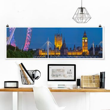 Poster - Big Ben und Westminster Palace in London bei Nacht - Panorama Querformat
