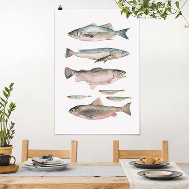 Poster - Sieben Fische in Aquarell I - Hochformat 3:2
