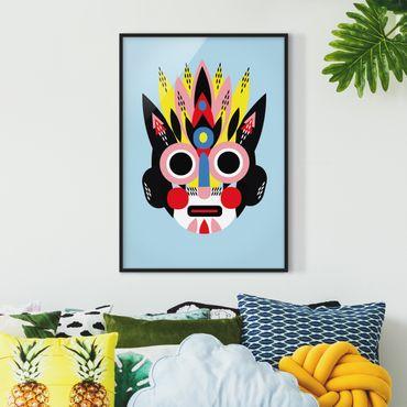 Bild mit Rahmen - Collage Ethno Maske - Gesicht - Hochformat 4:3