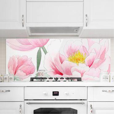 Spritzschutz Glas - Zeichnung Rosa Päonien I - Panorama