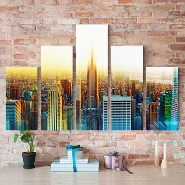 Leinwandbild 5-teilig - Manhattan Abstrakt