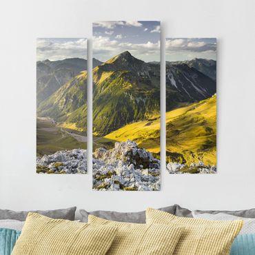 Leinwandbild 3-teilig - Berge und Tal der Lechtaler Alpen in Tirol - Galerie Triptychon