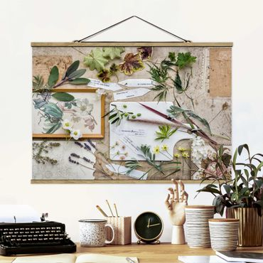 Stoffbild mit Posterleisten - Blumen und Gartenkräuter Vintage - Querformat 3:2