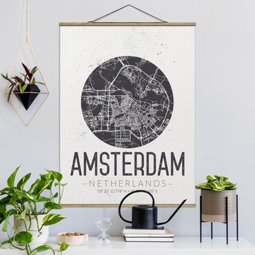 Stoffbild mit Posterleisten - Stadtplan Amsterdam - Retro - Hochformat 4:3