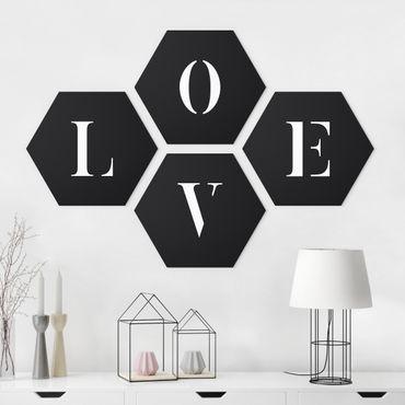 Hexagon Bild Forex 4-teilig - Buchstaben LOVE Weiß Set II