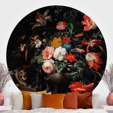 Runde Tapete selbstklebend - Abraham Mignon - Das umgeworfene Bouquet