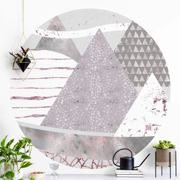 Runde Tapete selbstklebend - Abstrakte Berglandschaft Pastellmuster
