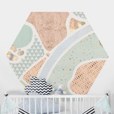 Hexagon Mustertapete selbstklebend - Abstrakte Seelandschaft Pastellmuster