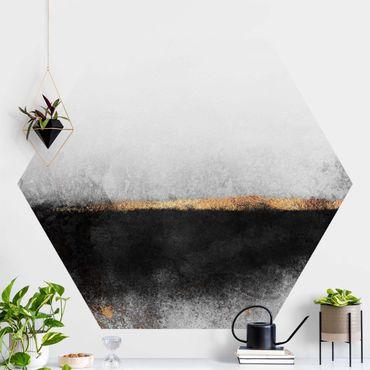 Hexagon Mustertapete selbstklebend - Abstrakter Goldener Horizont Schwarz Weiß
