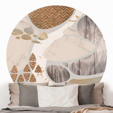 Runde Tapete selbstklebend - Abstrakter Steinbruch Pastellmuster