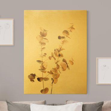 Leinwandbild Gold - Goldene Eukalyptuszweige - Hochformat 3:4