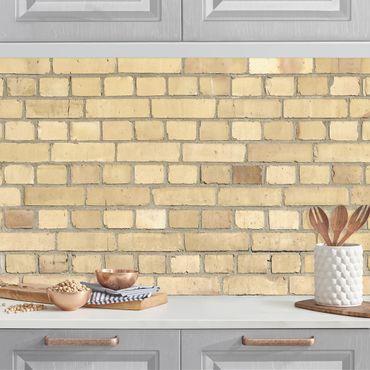 Küchenrückwand - Klinkertapete hell-gelb
