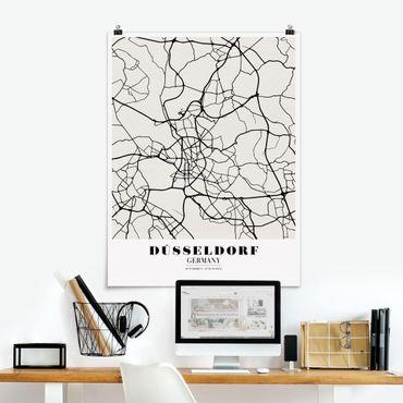 Poster - Stadtplan Düsseldorf - Klassik - Hochformat 3:4