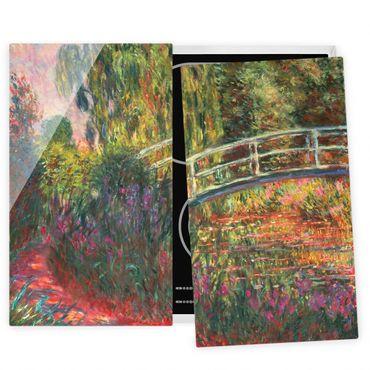 Herdabdeckplatte Glas - Claude Monet - Japanische Brücke im Garten von Giverny - 52x80cm