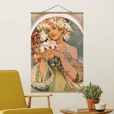 Stoffbild mit Posterleisten - Alfons Mucha - Blume - Hochformat 2:3