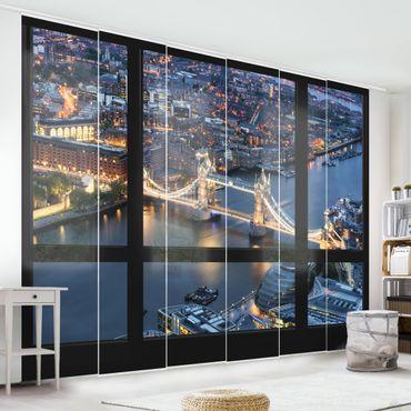 Schiebegardinen Set - Fensterausblick auf Tower Bridge bei Nacht - Flächenvorhänge