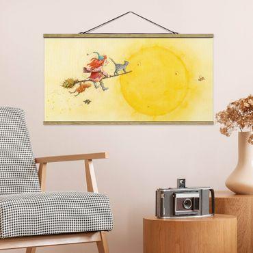 Stoffbild mit Posterleisten - Frida und Kater Pumpernickel - Querformat 2:1