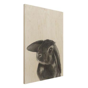 Holzbild - Illustration Hase Schwarz Weiß Zeichnung - Hochformat 4:3