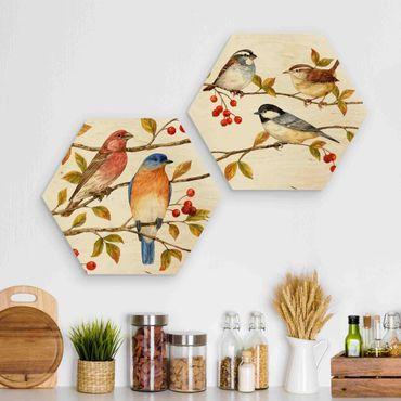 Hexagon Bild Holz 2-teilig - Vögel und Beeren Set I