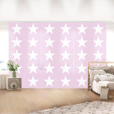 Schiebegardinen Set - Große Weiße Sterne auf Rosa - Flächenvorhänge