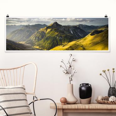 Poster - Berge und Tal der Lechtaler Alpen in Tirol - Panorama Querformat