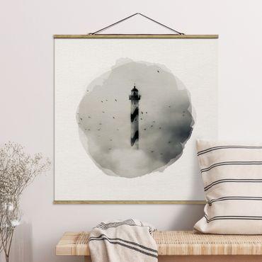 Stoffbild mit Posterleisten - Wasserfarben - Leuchtturm im Nebel - Quadrat 1:1