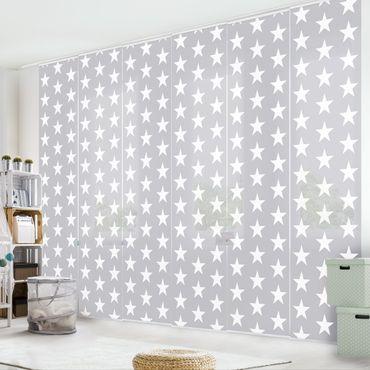 Schiebegardinen Set - Weiße Sterne auf grauen Hintergrund - Flächenvorhänge