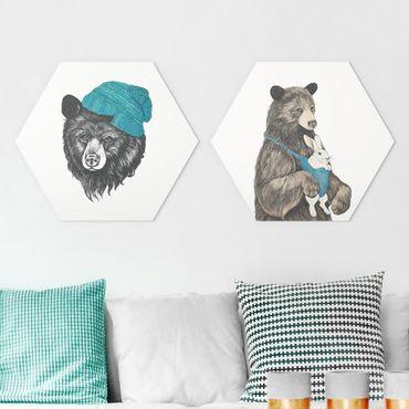 Hexagon Bild Alu-Dibond 2-teilig - Laura Graves - Bären Paar