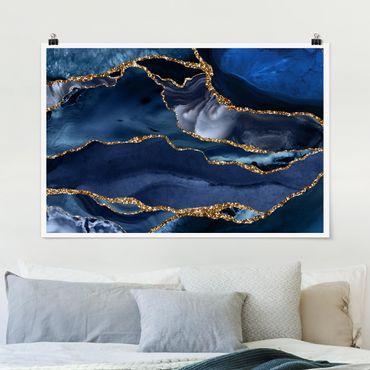 Poster - Goldene Glitzer Wellen vor Blau - Querformat 2:3