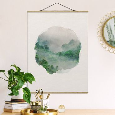 Stoffbild mit Posterleisten - Wasserfarben - Dschungel im Nebel - Hochformat 4:3