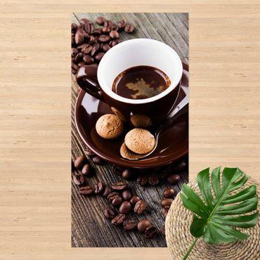 Vinyl-Teppich - Kaffeetasse mit Kaffeebohnen - Hochformat 1:2
