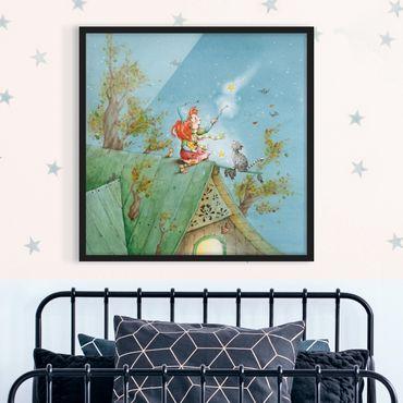 Bild mit Rahmen - Frida und Kater Pumpernickel lassen die Sterne frei - Quadrat 1:1