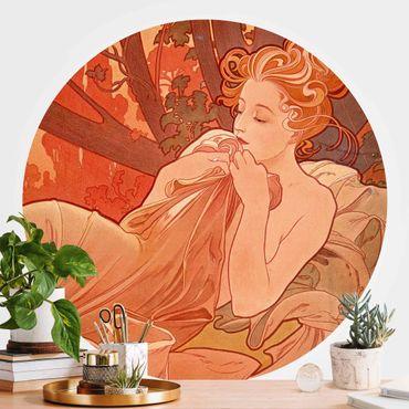 Runde Tapete selbstklebend - Alfons Mucha - Abenddämmerung
