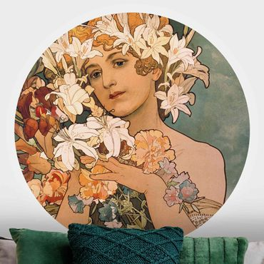 Runde Tapete selbstklebend - Alfons Mucha - Blume