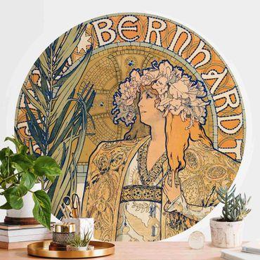 Runde Tapete selbstklebend - Alfons Mucha - Plakat für Theaterstück Gismonda