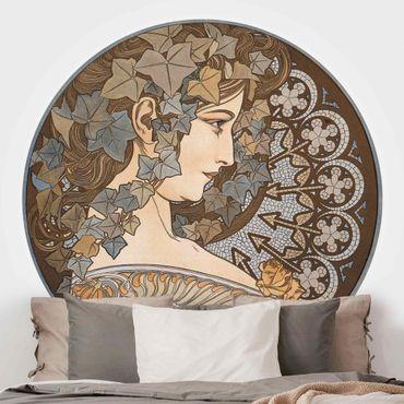 Runde Tapete selbstklebend - Alfons Mucha - Synthia