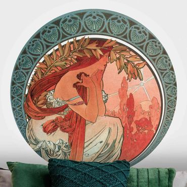 Runde Tapete selbstklebend - Alfons Mucha - Vier Künste - Die Poesie