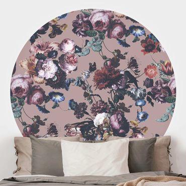 Runde Tapete selbstklebend - Altmeisterliche Blüten mit Tulpen und Rosen auf Beige
